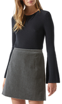 Jigsaw Brushed Velvet Straight Skirt, Shadow Grey