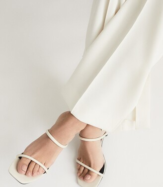Reiss Magda - Leather Strappy Heeled Sandals in Off White