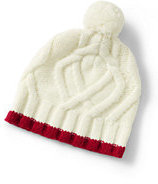 Lands' End Girls Wool Blend Cable Beanie-Bavarian Creme