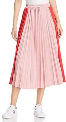 Moncler Color-Block Pleated Midi Skirt
