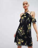 boohoo Strappy Cold Shoulder Mini Dress In Floral Print