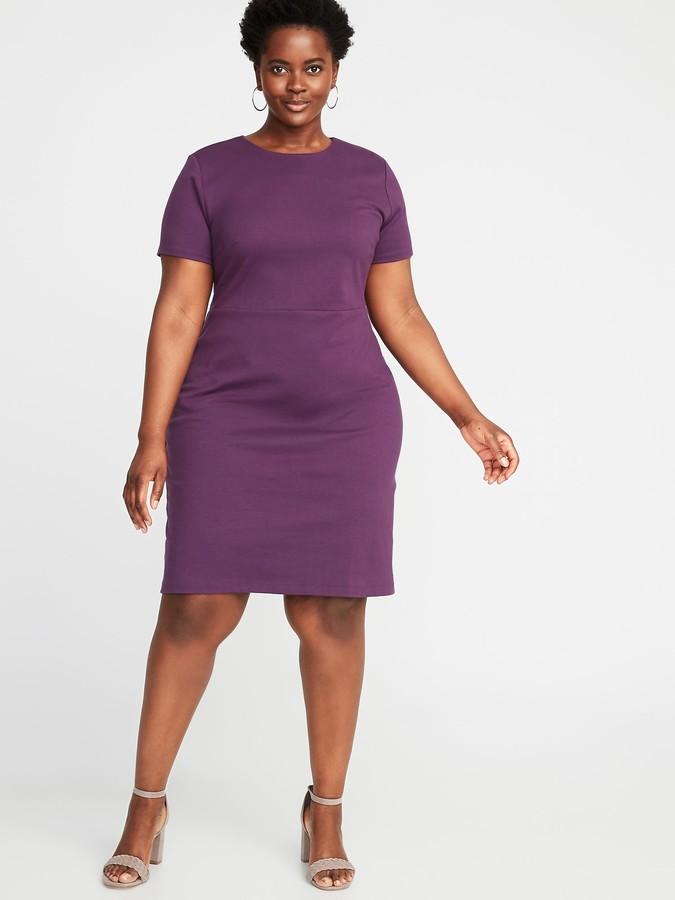 Ponte-Knit Plus-Size Sheath Dress