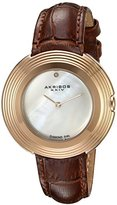 Akribos XXIV Women's AK876RGBR Mother-of-Pearl Dial Rose Tone & Brown Leather Strap Watch