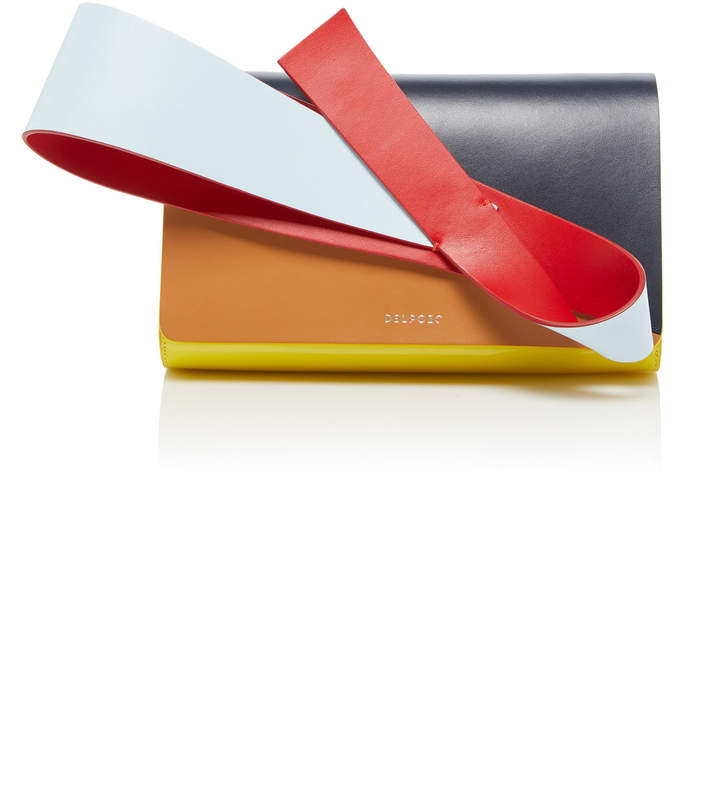DELPOZO Orchid Paneled Patent And Smooth Leather Clutch