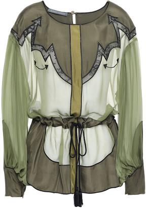 Alberta Ferretti Lace-trimmed Paneled Color-block Silk-chiffon Blouse