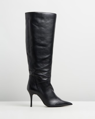 Mng Leather Stiletto Heel Boots