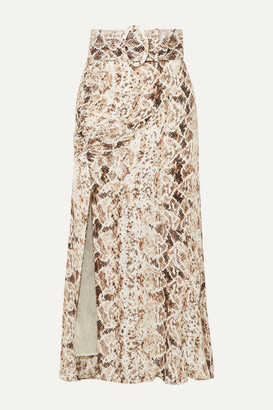 Nicholas Ruched Snake-print Silk-chiffon Midi Skirt - Brown