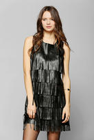 Urban Outfitters Glamorous Vegan Leather Fringe Shift Dress