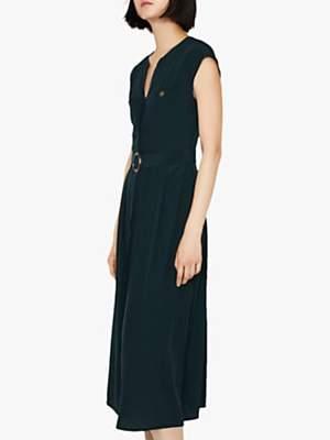 Warehouse Horn Ring Belt Dress, Dark Green