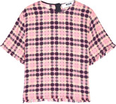 MSGM Fringed checked cotton top