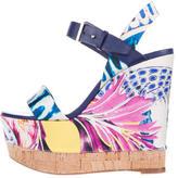 Roberto Cavalli Printed Satin Wedge Sandals