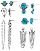 Steve Madden Six Pair Turquoise Silvertone Geometric and Chain Earrings Set