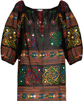 Juliet Dunn Embroidered cotton kaftan