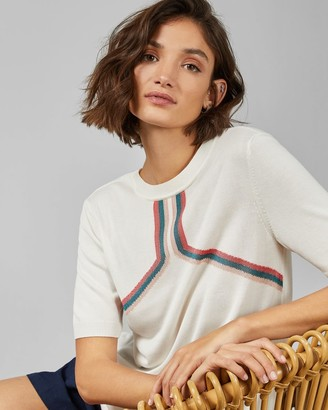 Ted Baker Intarsia Striped Knitted Top