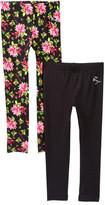 Betsey Johnson Floral Print & Solid Black Leggings - Set of 2 (Big Girls)