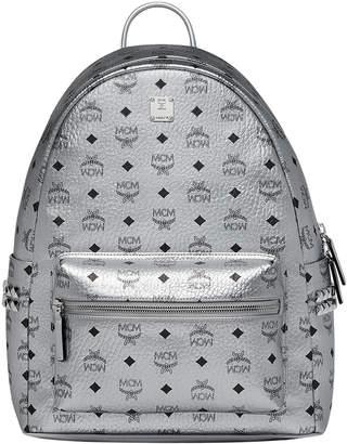 MCM Men's Stark Logo Visetos Backpack, Silver