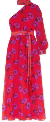 Borgo de Nor Isabeau One-shoulder Floral-print Silk-georgette Maxi Dress - Red