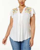 Melissa McCarthy Trendy Plus Size Embroidered Top