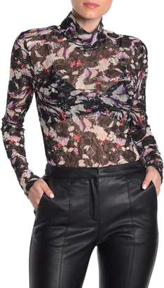 BCBGMAXAZRIA Sheer Floral Lace Turtleneck Top