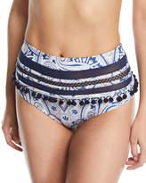 Tularosa Thessy High-Rise Printed Swim Bikini Bottoms with Pompom & Mesh Trim