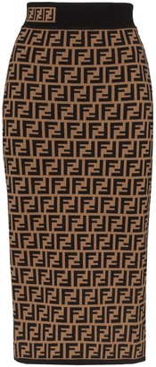 Fendi Monogram Midi Skirt