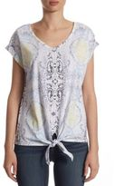 Lord & Taylor Printed Tie Front Tee
