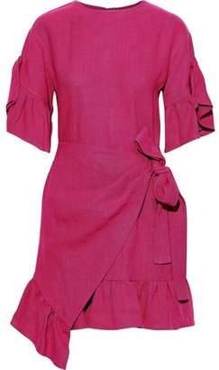 GOEN.J Asymmetric Wrap-effect Ruffle-trimmed Linen Mini Dress