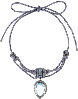 LANVIN Pre-Owned Stone Drop Pendant Tied Necklace