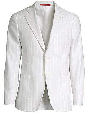 Isaia Men's Stripe Piquet Single-Breasted Jacket