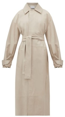Raey Belted Leather Trench Coat - Womens - Light Grey