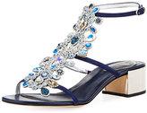 Rene Caovilla Crystal Jeweled Block-Heel Sandal, Blue