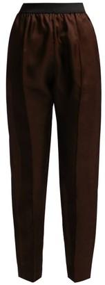ALBUS LUMEN Lujo High-rise Tapered Linen Trousers - Womens - Dark Brown