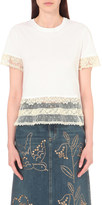 RED Valentino Lace-trim cotton t-shirt