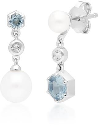 Gemondo Modern Pearl & Topaz Drop Earrings In 925 Sterling Silver
