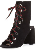 Prada Suede Lace-Up 85mm Bootie, Nero