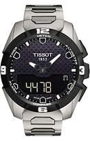 Tissot T0914204405100 T-touch Expert Solar Chronograph Altimeter Titanium Strap Watch, Silver/black