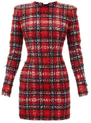 Balmain Tartan Tweed Mini Dress - Red Multi