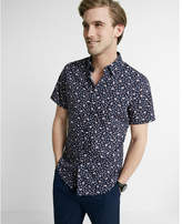 Express fitted floral short-sleeve cotton dress shirt
