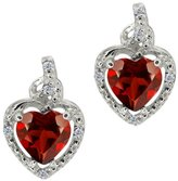 Gem Stone King 1.87 Ct Heart Shape Red Garnet White Diamond 18K White Gold Earrings