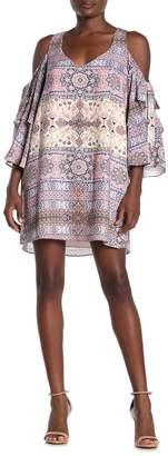 Parker Cold Shoulder Printed Mini Shift Dress