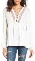 Lush Women's Lace-Up Babydoll Blouse