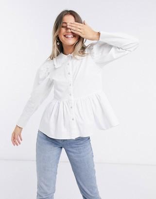 Influence cotton poplin collared shirt in white