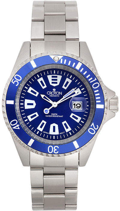 Croton Mens Blue Dial Stainless Steel Watch