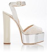 Giuseppe Zanotti Women's Lavinia Velvet Sandals-LIGHT GREY