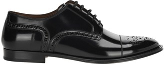 Dolce & Gabbana Brogue Derby Shoes In Marsala Calfskin