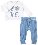 Jessica Simpson Two-Piece Flocked Pant Set