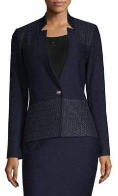 St. John Women's Tailored Knit Blazer - Navy - Size 16