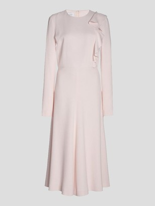 Giambattista Valli Long Sleeve Viscose Crepe Ruffle Shoulder Midi Dress