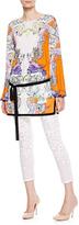 Roberto Cavalli Embroidered Silk Georgette Blouse, White