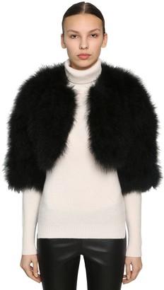 Yves Salomon Cropped Feather Jacket